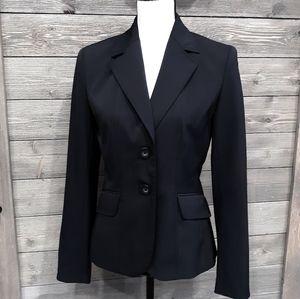 Ann Taylor Factory Black Pinstripe Blazer sz 6